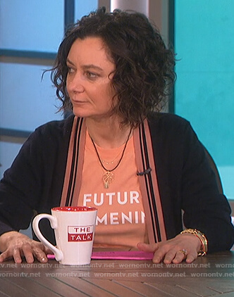 Sara's orange el futuro es femeninx t-shirt on The Talk