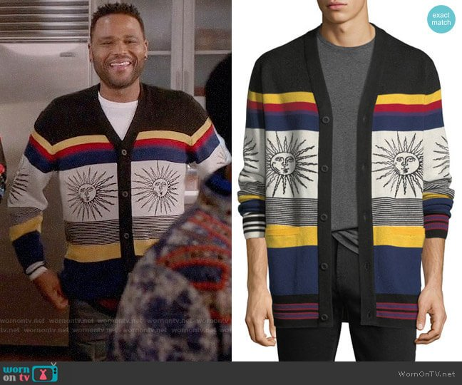 Ovadia & Sons Striped Sunny Wool Cardigan worn by Andre Johnson (Anthony Anderson) on Blackish