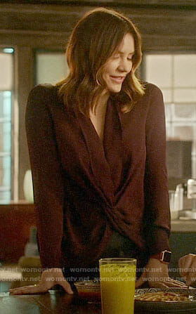 Paige's purple twist front blouse on Scorpion