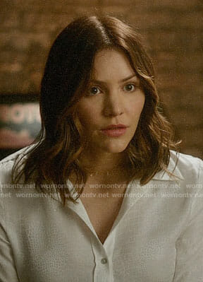 Paige's white snakeskin print blouse on Scorpion