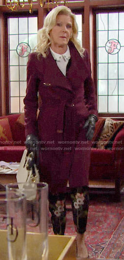 Pam's burgundy coat on The Bold and the Beautiful