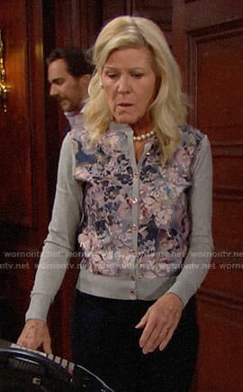 Pam's grey floral cardigan on The Bold and the Beautiful