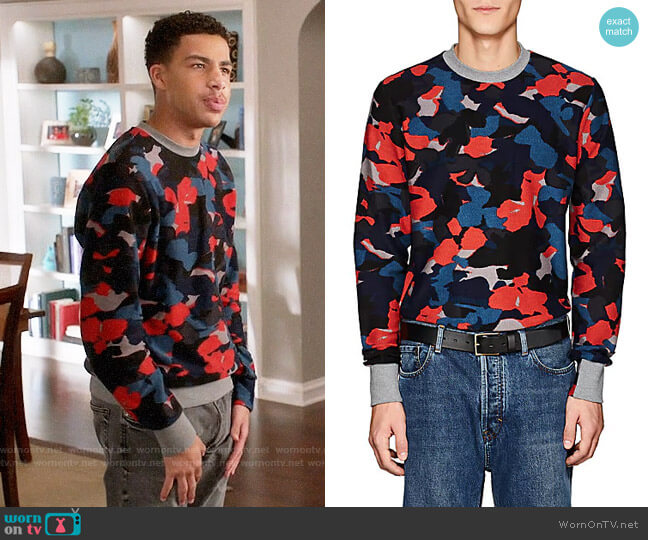 Paul Smith Camouflage Cotton Terry Sweatshirt worn by Marcus Scribner on Blackish