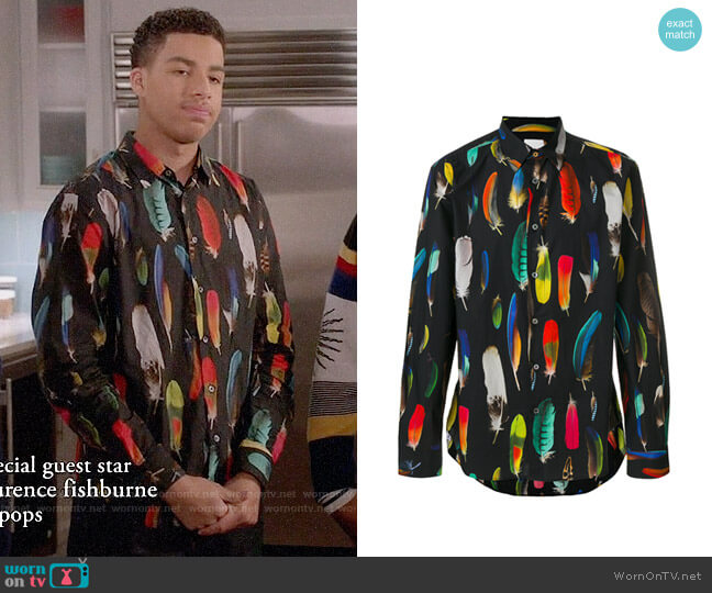 Paul Smith Feather Print Shirt worn by Marcus Scribner on Blackish