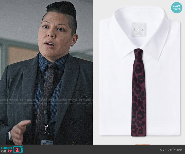 Paul Smith Leopard Print Narrow Tie worn by Sara Ramirez on Madam Secretary