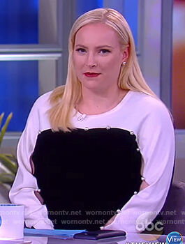 Meghan's colorblock pearl embellished sweater on The View