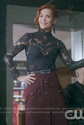 Penelope's burgundy button front skirt on Riverdale