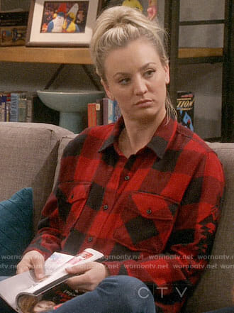 Penny's red checked shirt with embroidery on The Big Bang Theory