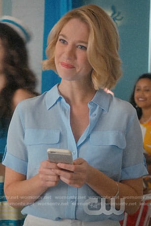Petra's light blue button down shirt on Jane the Virgin