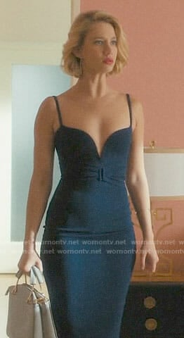 Petra's navy dress with plunging neckline on Jane the Virgin