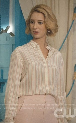 Petra's pink striped shirt and trousers on Jane the Virgin