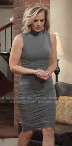 Phyllis's grey ruched turtleneck dress on The Young and the Restless