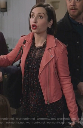 Jen's pink leather moto jacket on Life in Pieces