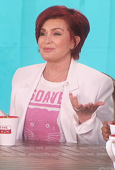 Sharon's white and pink panther print t-shirt on The Talk