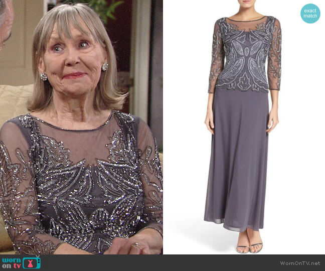 Pisarro Nights Embellished Mesh Gown worn by Dina Mergeron (Marla Adams) on The Young & the Restless