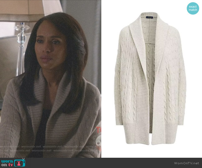 Wornontv Olivia S Grey Cable Knit Shawl Cardigan On
