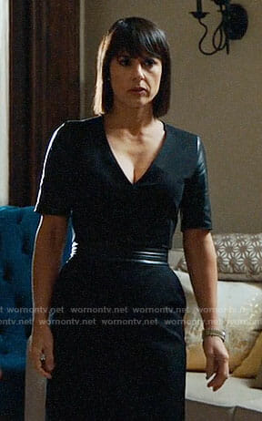 Quinn's black dress with leather sleeves on UnReal