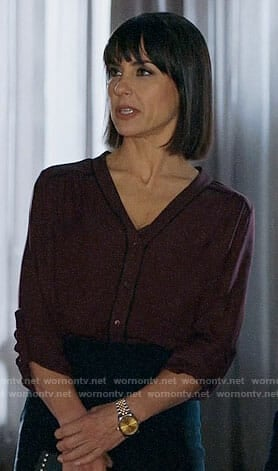 Quinn's burgundy button front blouse on UnReal