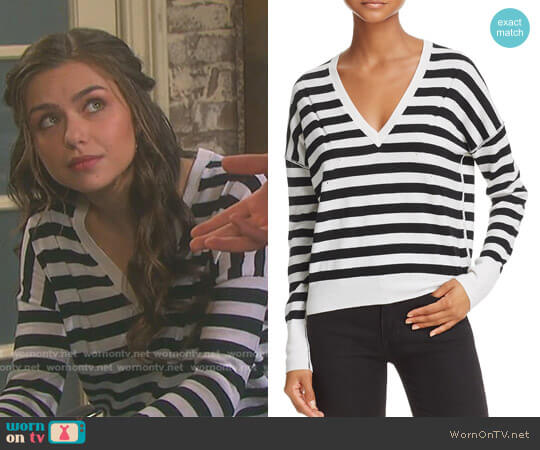 Stripe V-Neck Sweater by Rag & Bone worn by Victoria Konefal on Days of our Lives