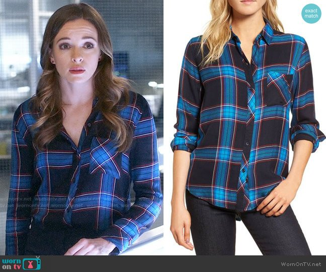 Rails Hunter Shirt in Azure Midnight Ruby worn by Danielle Panabaker on The Flash