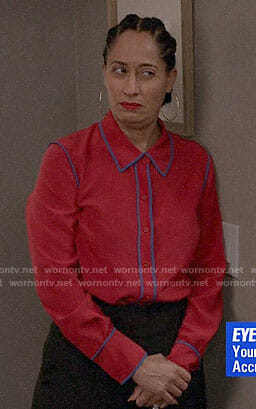 Bo's red blouse with blue trim on Black-ish
