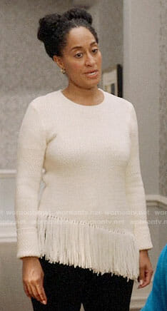 Rainbow's white fringed sweater on Black-ish