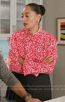 Rainbow's red floral top on Black-ish