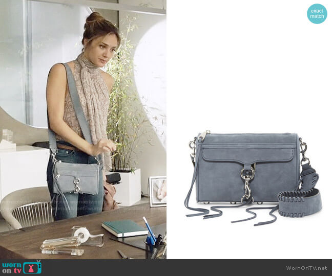 Rebecca Minkoff Mini Mac Leather Crossbody with Guitar Strap in Dusty Blue worn by Megan Morrison (Christine Evangelista) on The Arrangement
