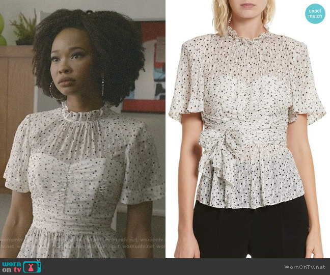 Star Tie Silk Blend Blouse by Rebecca Taylor worn by Wakeema Hollis on Dynasty