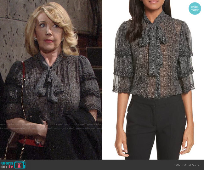 Rebecca Taylor Tie Neck Tiered Sleeve Silk Blouse worn by Nikki Reed Newman (Melody Thomas-Scott) on The Young & the Restless