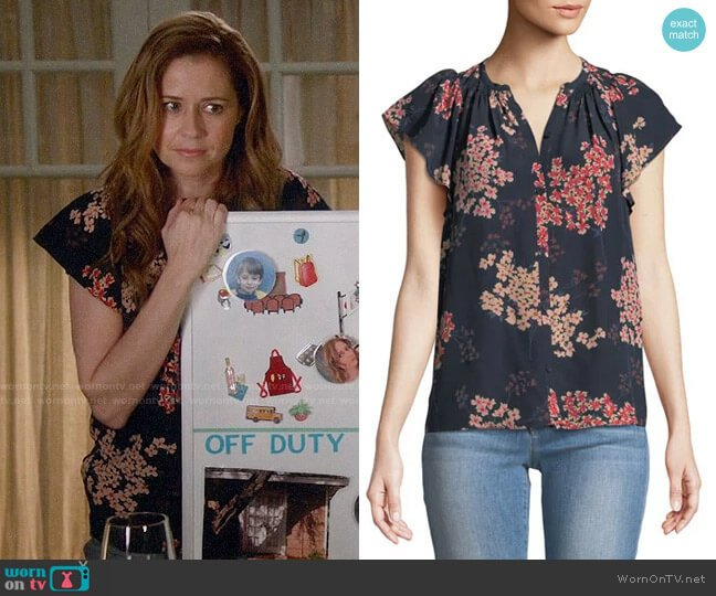 Rebecca Taylor Phlox Blouse worn by Lena (Jenna Fischer) on Splitting Up Together