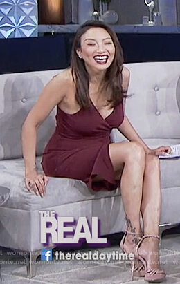 Jeannie's red cami ruched dress on The Real