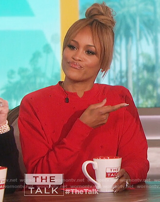 Eve's red distressed sweatshirt on The Talk