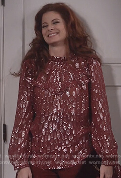 Grace's red metallic ruffled blouse on Will and Grace