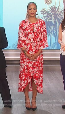 Eve's red floral print dress on The Talk