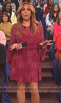Wendy's red lace bell sleeve dress on The Wendy Williams Show