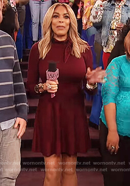 Wendy's red long sleeve tie neck dress on The Wendy Williams Show
