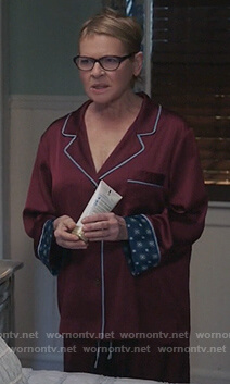 Joan's red pin stripe pajamas on Life in Pieces