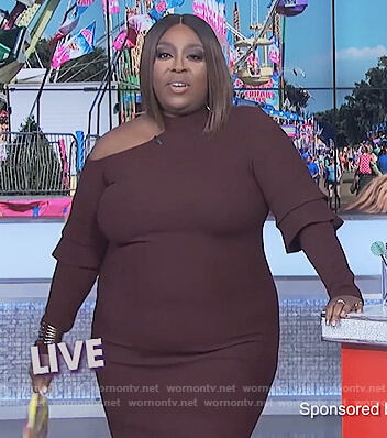 Loni's burgundy shoulder cutout dress on The Real