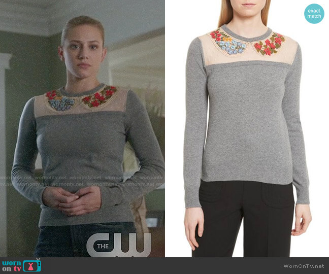RED Valentino Macramé & Floral Embellished Wool Sweater worn by Lili Reinhart on Riverdale
