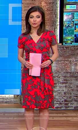 Bianna's red floral print wrap dress on CBS This Morning