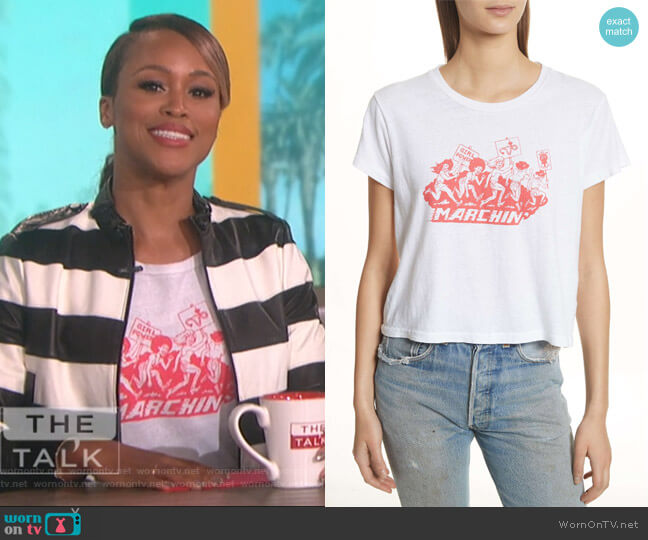 Nixon Striped Leather Jacket by Alice + Olivia worn by Eve on The Talk