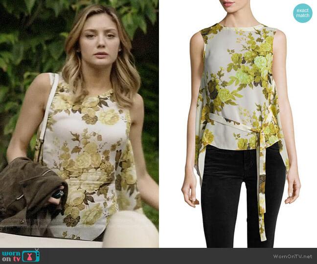 Robert Rodriguez Sleeveless Floral Top W/ Back Drape worn by Christine Evangelista on The Arrangement