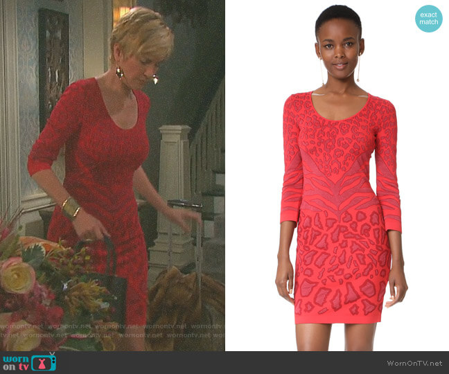 Leopard Mini Dress by Roberto Cavalli worn by Eve Donovan (Kassie DePaiva) on Days of our Lives