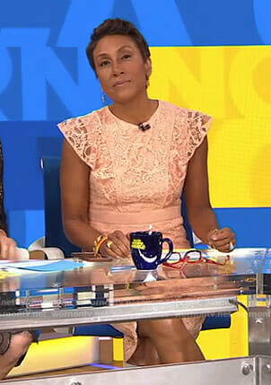 Robin's coral lace flutter sleeve dress on Good Morning America