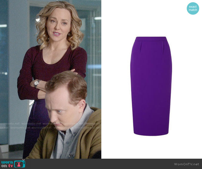 Roland Mouret Arreton Skirt worn by Geneva Carr on Bull