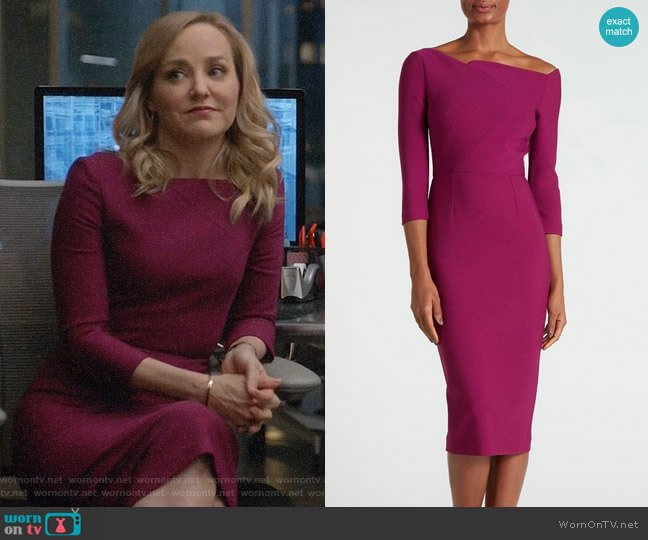 Roland Mouret Witham Dress in Cerise worn by Marissa Morgan (Geneva Carr) on Bull