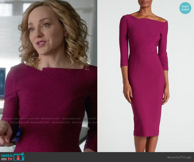 Roland Mouret Witham Dress in Cerise worn by Geneva Carr on Bull