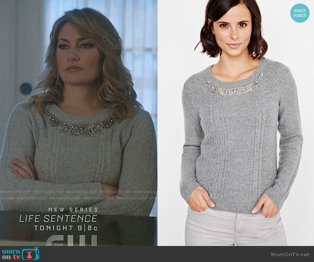 RW&Co Embellished Cashmere Like Sweater worn by Alice Cooper (Mädchen Amick) on Riverdale