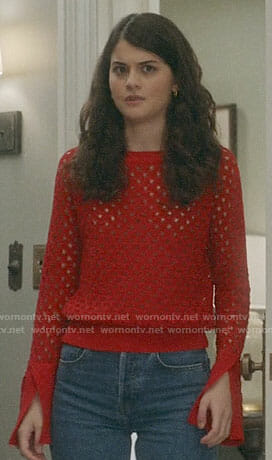 Sabrina's red eyelet sweater on The Mick